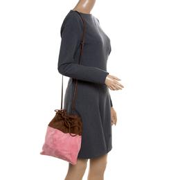 Miu Miu Brown/Pink Suede Drawstring Bucket Bag 171947