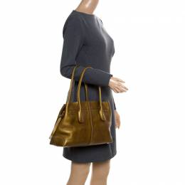 Tod's Bronze Leather large D Bag Media Tote 171959