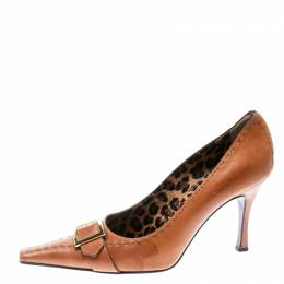 Dolce&Gabbana Brown Leather Buckle Detail Pointed Toe Pumps Size 39.5 172567
