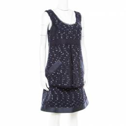 Oscar De La Renta Navy Blue Boucle Tweed Sleeveless Dress M 171924