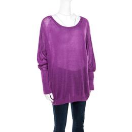 Loro Piana Purple Linen and Silk Sweater M