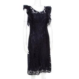 Prada Navy Blue Floral Lace Ruffled Sleeveless Dress S 172515