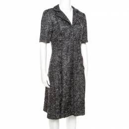Oscar De La Renta Grey Textured Lurex Plunge Neck Detail Short Sleeve Dress M 172473