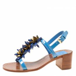 Tory Burch Blue Patent Leather Emilynn Beaded T-Strap Sandals Size 35 174729