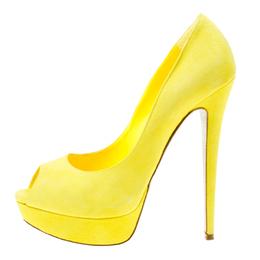 Rene Caovilla Yellow Suede Peep Toe Platform Pumps Size 39