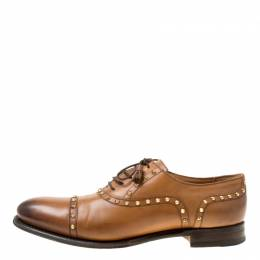 Gucci Brown Leather Studded Lace Up Oxfords 40.5 174999
