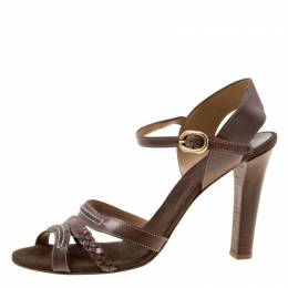 Chloe Brown Leather Braid Detail Ankle Strap Sandals Size 42 174994