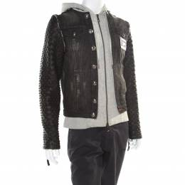 Philipp Plein Illegal Fight Club Black Textured Leather and Denim Johnny's Jacket M 174929