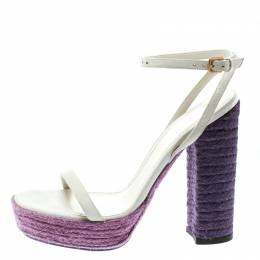 Saint Laurent Off White Suede Gipsy Ankle Strap Platform Sandals Size 37 175588