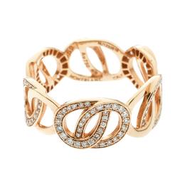 Montblanc Princesse Grace de Monaco Petal Intertwined Diamond 18k Rose Gold Band Ring Size 52 175792