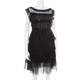 Red Valentino Black Tulle Embellished Sheer Yoke Detail Plisse Tiered Dress S 174998