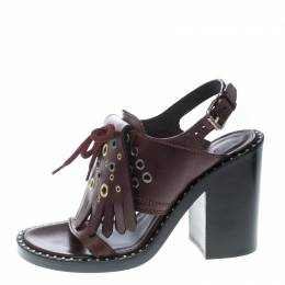 Burberry Burgundy Leather Beverley Eyelet Fringe Detail Block Heel Sandals Size 37 177393