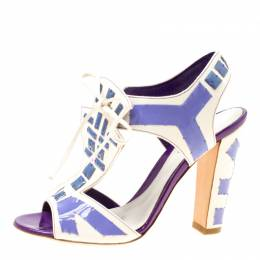 Sergio Rossi White Leather With Purple Cut Out Detail Peep Toe Sandals Size 36.5 174312