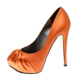 Gina Orange Satin Claire Hoodie Platform Pumps Size 36.5 176297