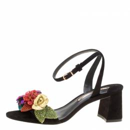 Sophia Webster Black Suede Lilico Glitter Ankle Strap Sandals Size 37