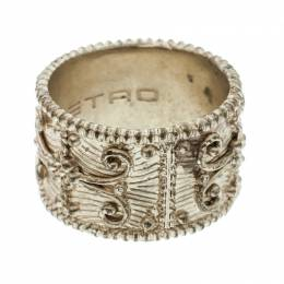 Etro Textured Gold Tone Wide Band Ring Size 61 176677