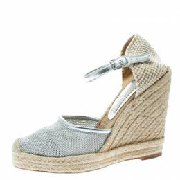 Stella McCartney Metallic Silver Fabric and Faux Leather Espadrille Wedge Sandals Size 36 176343