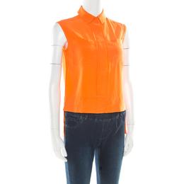 Diane Von Furstenberg Orange Silk Sleeveless High Low Lensley Shirt XS 176695