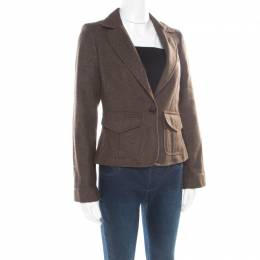 Burberry London Brown Wool One Button Blazer S 176849