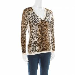 D&G Multicolor Animal Printed Silk Jersey V-Neck Sweater M Dandg 176713