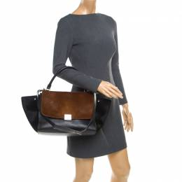Celine Black/Brown Calf Hair and Leather Medium Trapeze Bag 176716