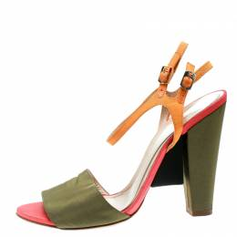Fendi Multicolor Fabric Ankle Strap Block Heel Sandals Size 37 177077