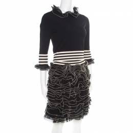 Alexander McQueen Monochrome Knit Ruffle Detail Top and Mini Skirt Set S/M