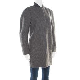 Balenciaga Grey Swiss Dotted Wool Raglan Sleeve Structured Coat M