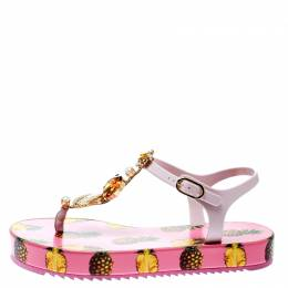Dolce&Gabbana Pink Rubber Pineapple Print Crystal Embellished Platform Thong Sandals Size 39 176984