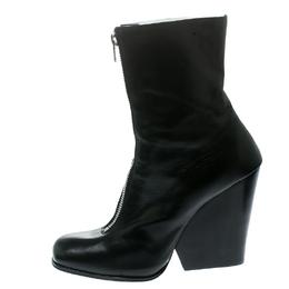 Celine Black Leather Square Toe Calf Length Boots Size 40.5 177808