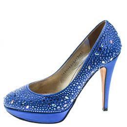 Gina Blue Crystal Embellished Satin Pumps Size 38.5 178015