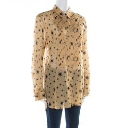 Dries Van Noten Beige Star Printed Pintuck Detail Shirt M 177295