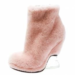 Fendi Light Pink Shearling Fur Ice Heel Ankle Boots Size 39 177853