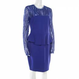 Emilio Pucci Purple Lace Yoke Peplum Detail Pencil Dress L 177456