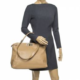 Fendi Beige Leather Large Peekaboo Top Handle Bag 177148