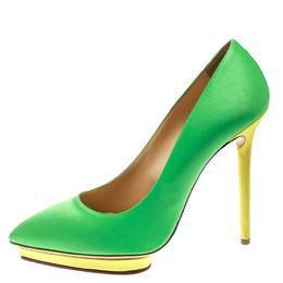 Charlotte Olympia Green Satin Debonaire Pointed Toe Platform Pumps Size 40