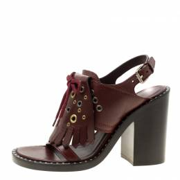 Burberry Burgundy Leather Beverley Eyelet Fringe Detail Block Heel Sandals Size 37 184170