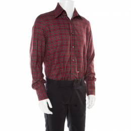 Dsquared2 Red Checked Cotton Long Sleeve Shirt XXL 177983