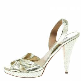 Oscar De La Renta Metallic Gold Embossed Python Leather Knot Sandals Size 38 178080