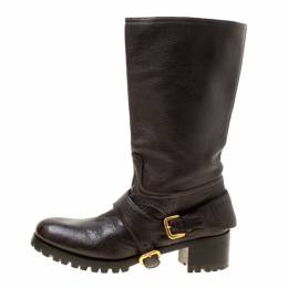 Prada Brown Leather Buckle Detail Calf Length Boots Size 37 178120