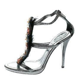 Rene Caovilla Grey Embossed Python Leather Crystal Embellished Strappy Sandals Size 38 178061