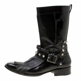 Dsquared2 Black Leather Spike Fringe Detail Calf Length Boots Size 44