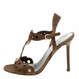 Sergio Rossi Brown Python Embossed Leather Studded Sandals Size 36.5 178076