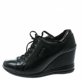 Prada Sport Black Leather Wedge Sneakers Size 39 178538