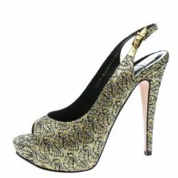 Gina Metallic Gold Glitter Peep Toe Platform Slingback Sandals Size 39.5 178406