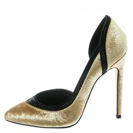 Gina Gold Paisley Print Velvet Crystal Studded D'orsay Pointed Toe Pumps Size 39 178407