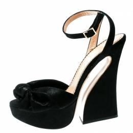 Charlotte Olympia Black Suede Vreeland Ankle Strap Platform Sandals Size 40