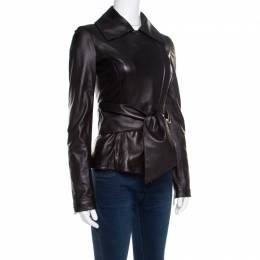 Elie Saab Black Lamb Leather Waist Tie Detail Biker Jacket S