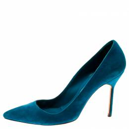 Manolo Blahnik Blue Suede BB Pointed Toe Pumps Size 37.5