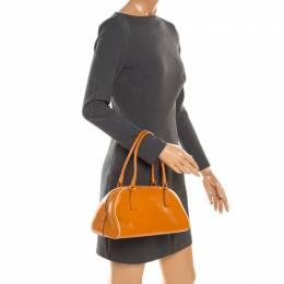 Prada Orange Leather Bowler Bag 179863